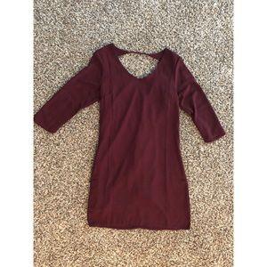 Burgundy dress with peekaboo back